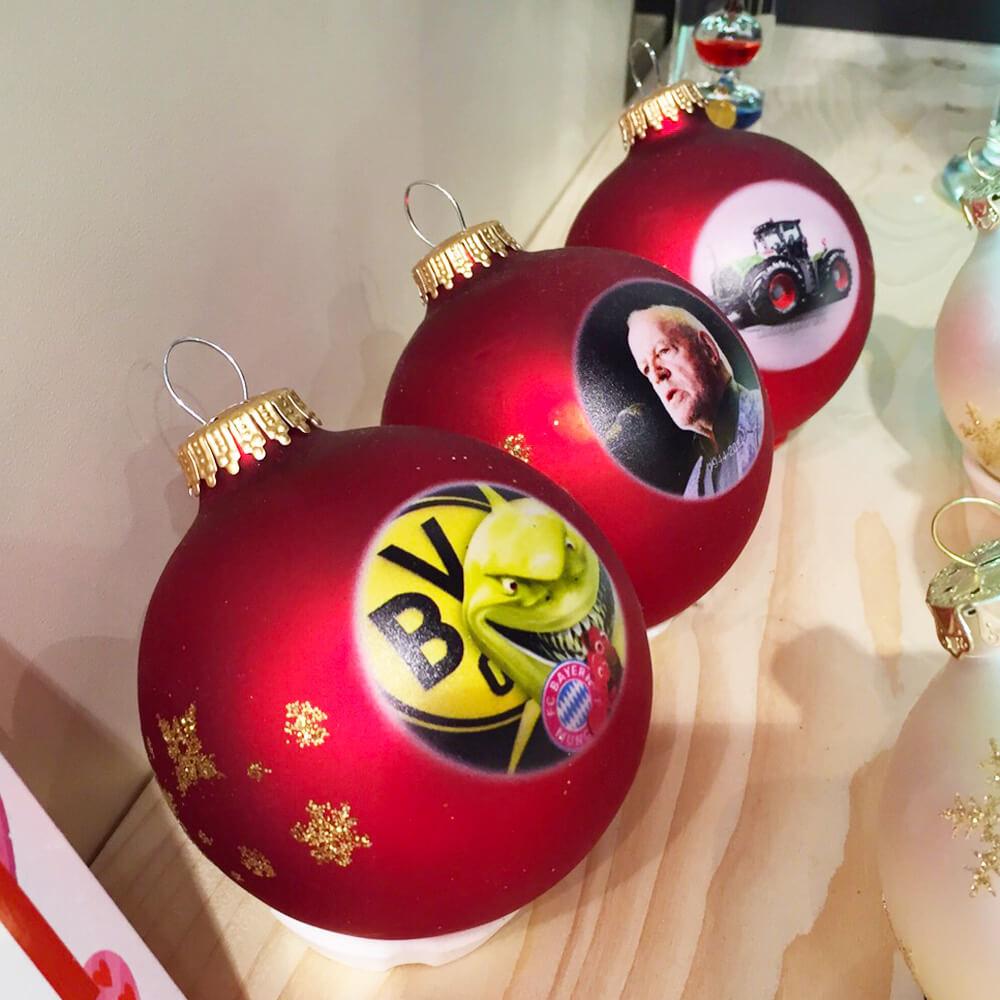 bedruckte Weihnachtskugeln
